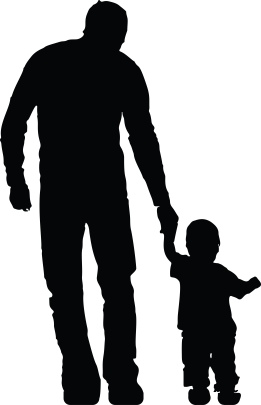 Free Clipart Of A silhouetted father holding hands with his son
